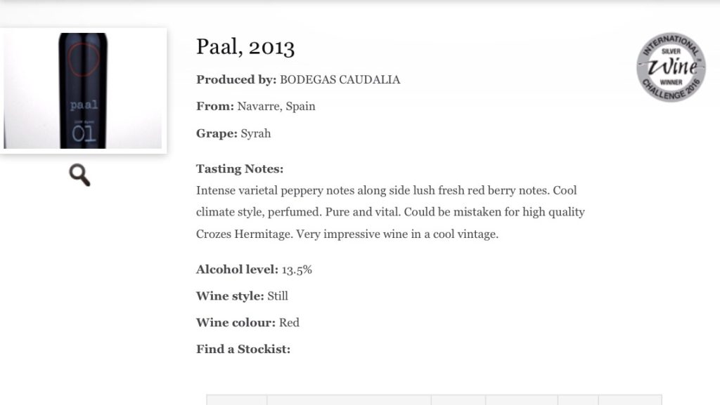 Nota de cata Paal 2013